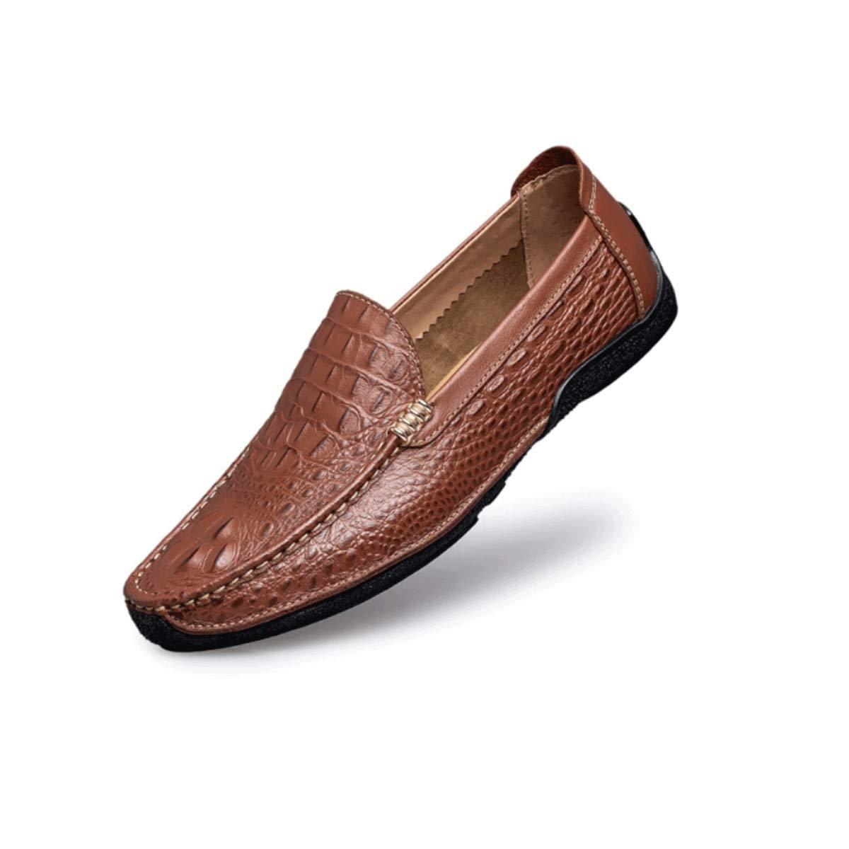 marron 37EU MUZIWENJU Chaussures de Sport for Hommes, Chaussures de Conduite en Cuir à Surface Souple, Chaussures de Sport à Talons Plats, Chaussures de Sport Tout Confort en Cuir, (Trois Couleurs en Option)