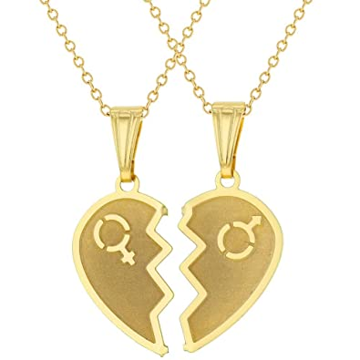 cd89d753ad Amazon.com: In Season Jewelry 18k Gold Plated Split Heart Necklace for Couples  Pendant Love 19