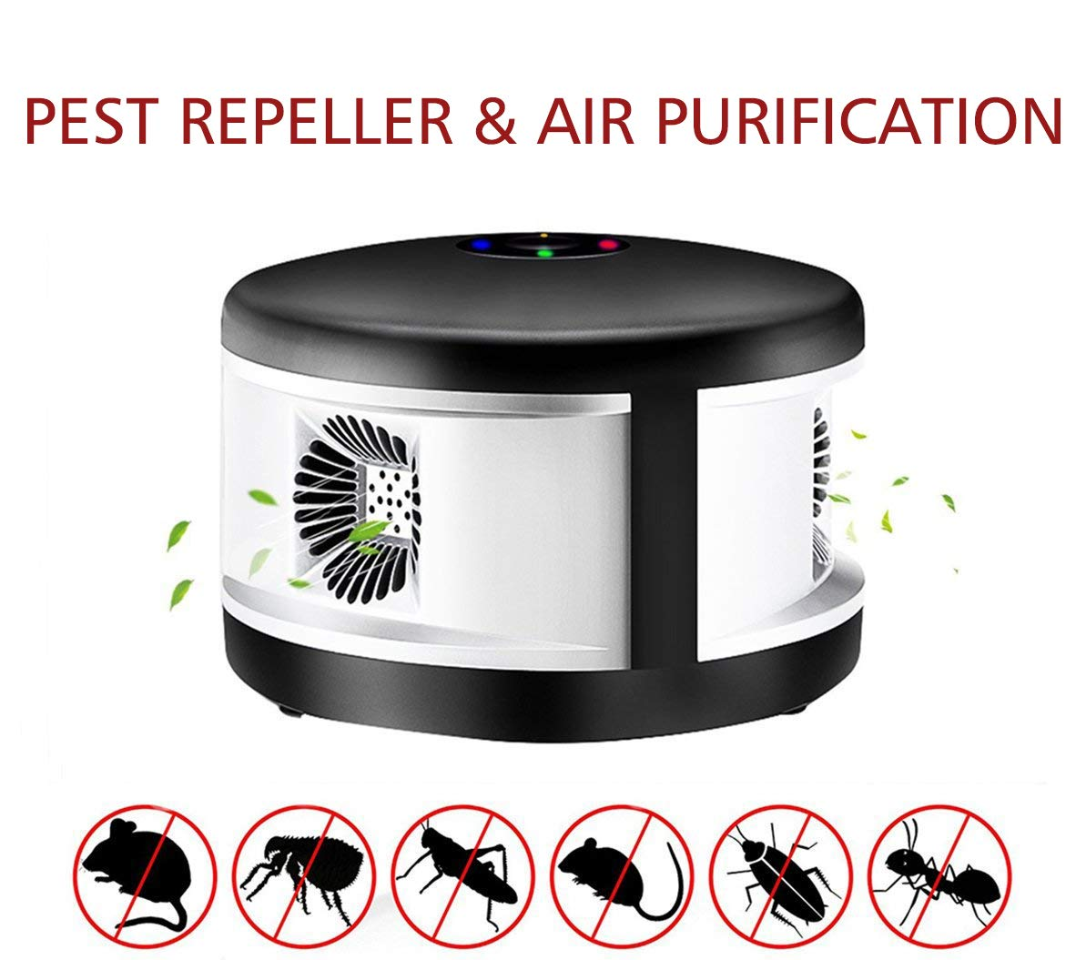 Pest Mouse Repeller, Ultrasonic Pest Control Repellent with 5 Waves Anion Air Purification for Family,Restaurant,Office-Black