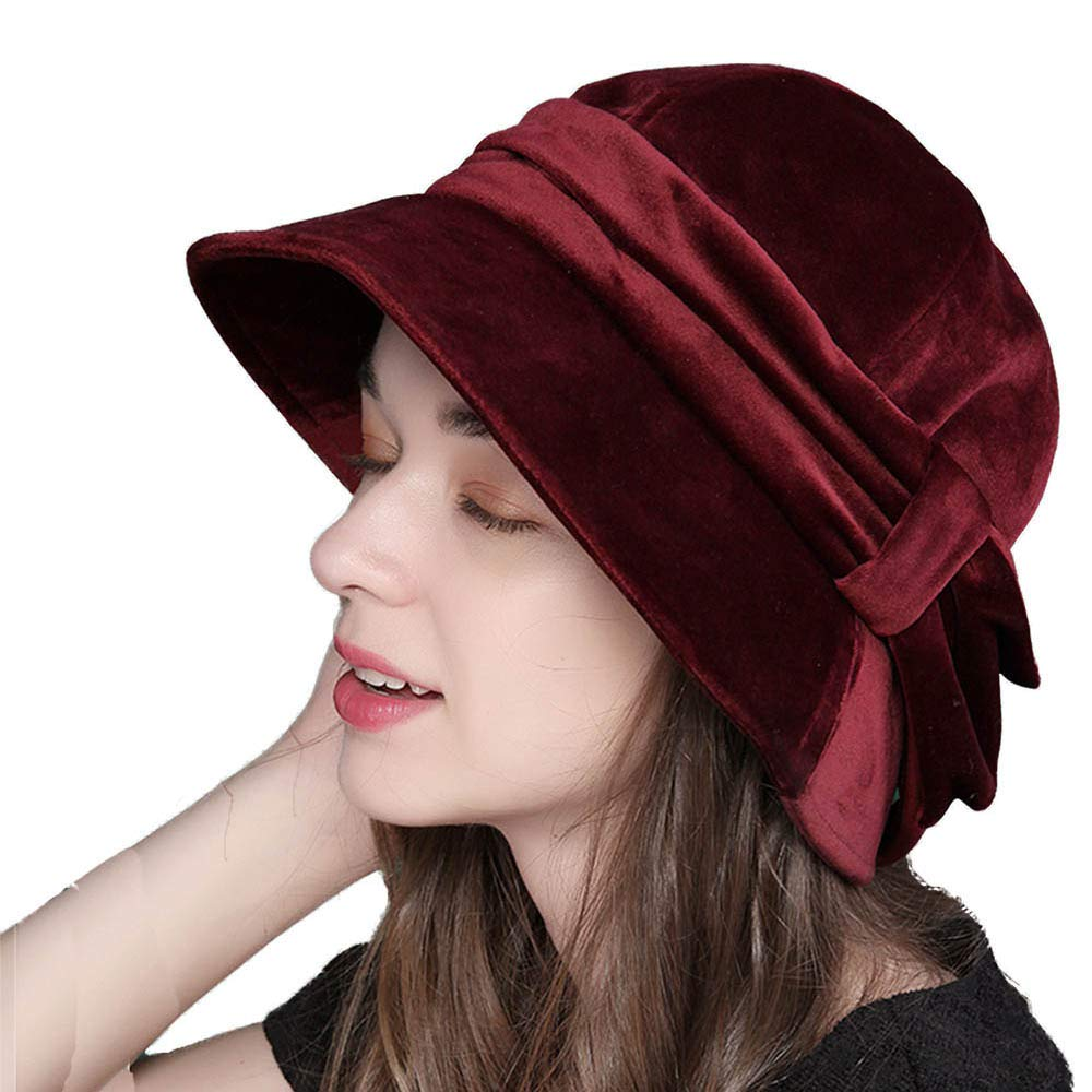 1920s Accessories | Great Gatsby Accessories Guide FADVES Womens Velvet Hats Wide Brim Fedora Bowler Cap Cloche Elegant Church Hat $29.99 AT vintagedancer.com