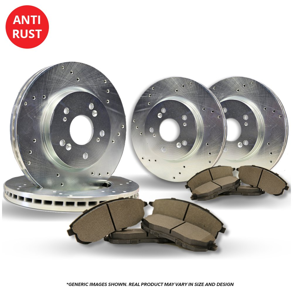 (Front+Rear Kit)(High-End) 4 Silver Coated Cross-Drilled Disc Brake Rotors + 8 Semi-Metallic Pads(5lug) frautoparts
