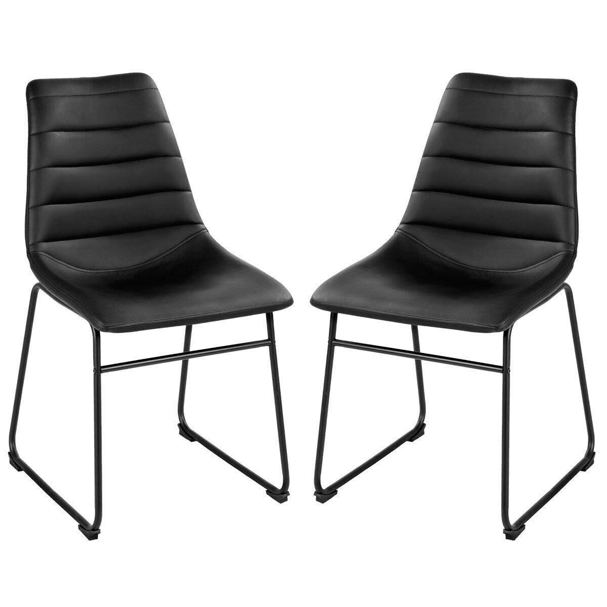COSTWAY Set of 2 Dining Side Chairs, Modern PU Leather, Armless Padded Seat Back Bistro for Pub, Dining Kitchen w Metal Legs, Black