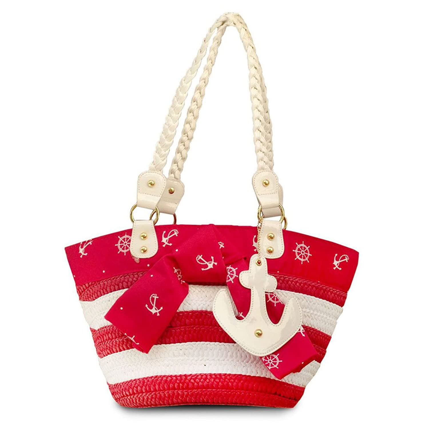 1950s Handbags, Purses, and Evening Bag Styles Red Rockabilly Voodoo Vixen Anchors Away Wicker Tote Bag Purse $44.99 AT vintagedancer.com