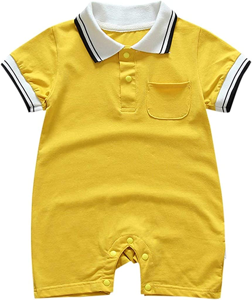 Shimigy Toddler Baby Boys Girls Short Sleeve Turn-Down Collar Pocket Romper Jumpsuits