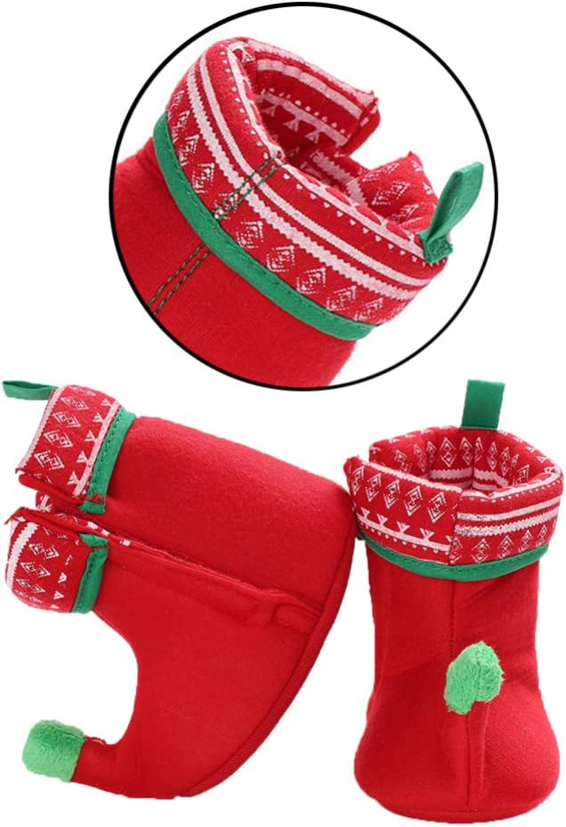 Red 11cm FENICAL Baby Christmas elf Fleece Slipper Booties Shoes Infant Newborn Toddler Winter Warm Slipper Boots elf Costume Accessories for Baby Girl or Boy