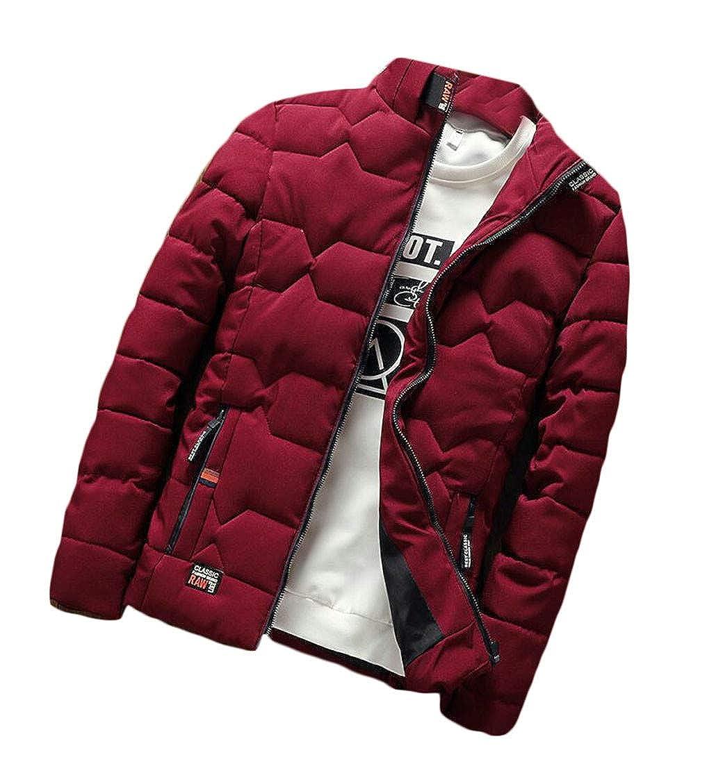 Etecredpow Men Jacket Overcoat Cotton-Padded Quilted Slim Parkas Coat