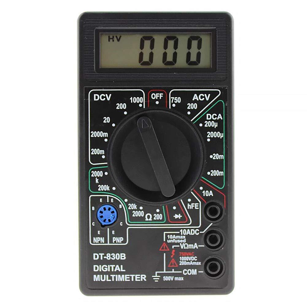 Negro Mult/ímetro DT-830B Prtical Ohm/ímetro Manual de Mano Pl/ástico Digital Auto Alcance Mini Cable Prueba Volt/ímetro LCD Volt Probador