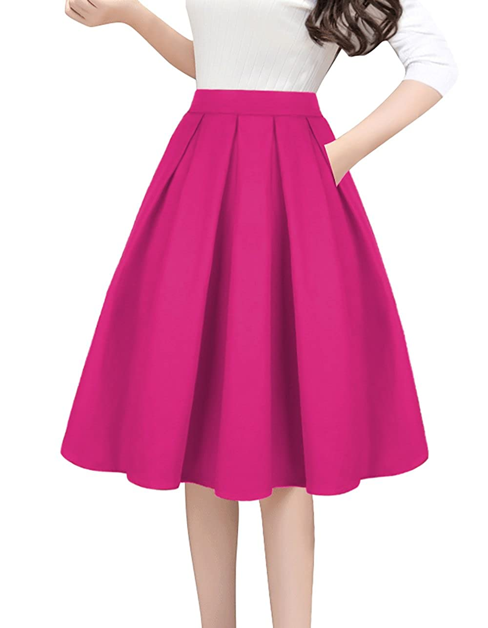 7cbf05875 High Waist Elastic Waist,Inverted pleat style,Zip-back fastening,Side Pockets  Pleated Feminine design for Retro skirt, You can wear the prom ...