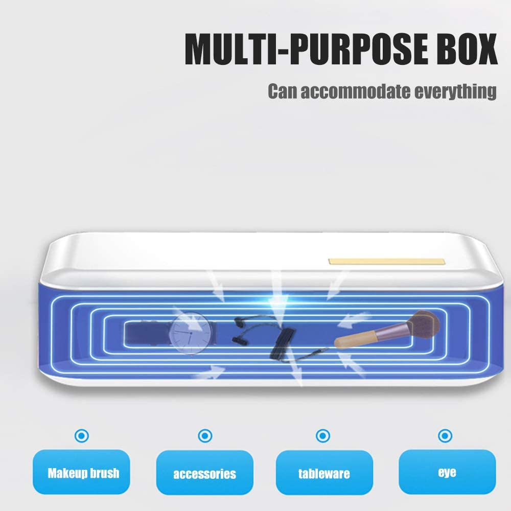 Personal Cleaner Disinfection Box for Phone /& Jewelry /& Underwear /& Trip 200 * 100 * 22mm Uv Disinfection Box with Automatic Power Off Ourleeme Multifunctional Uv Sterilizer Box White