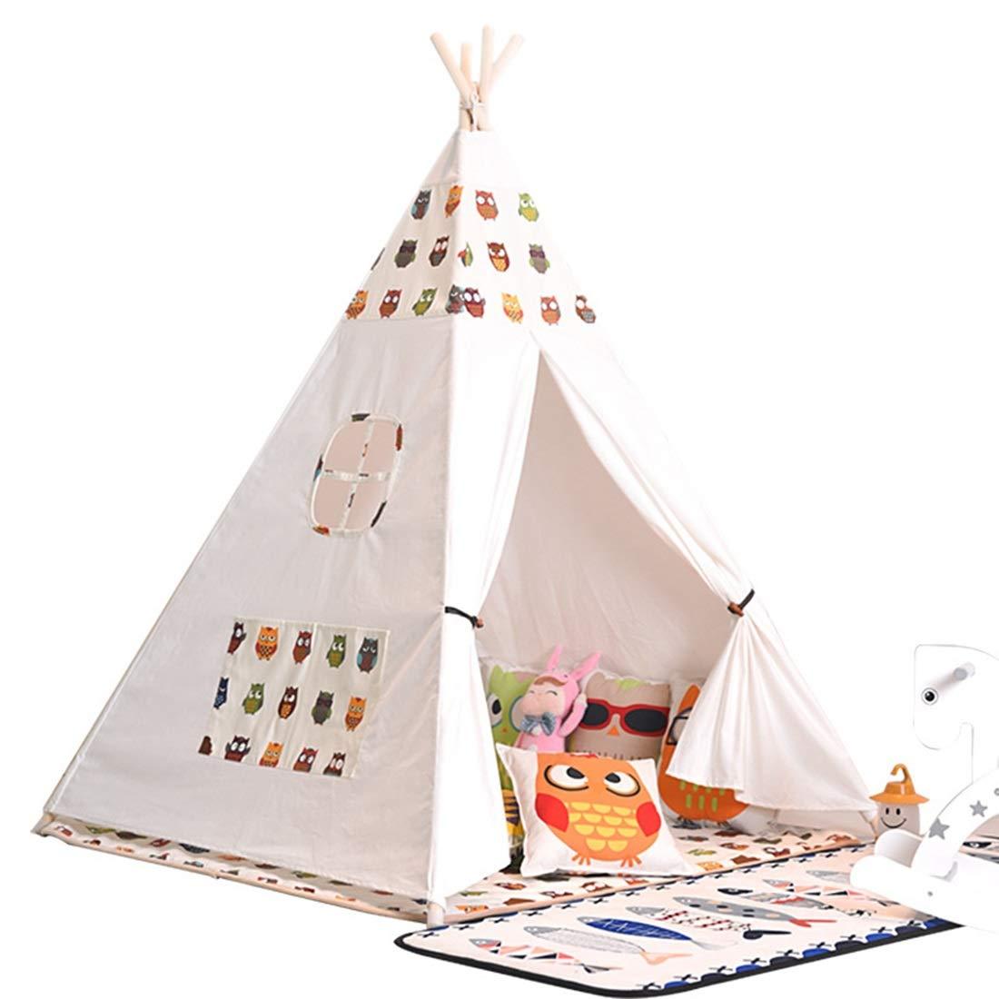 KERVINJESSIE インディアン 子供用 テント 屋内 登山 ベビー プレイハウス ベビー おもちゃ テント プリンセス テント KERVINJESSIE B07JFJFLSS フクロウ