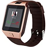Dz09 Bluetooth Smart Watch All in one, Unlocked Watch Cell Phone, Bluetooth wach for Iphone and Android phones Samsuny Galaxy Note ,TCL, ZTE ,Sony, LG.for Mens and Women (gold-brown)