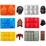 FantasyBear Star War Shaped Mold,Set of 6 Silicone Flexible Molds for Star Wars Lovers Robots Birthday Cake Decoration Candy