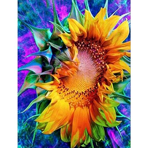 MXJSUA 5D DIY Diamond Painting Kit by Number Full Drill Round Beads Crystal Rhinestone Embroidery Cross Stitch Picture Supplies Arts Craft Wall Sticker Decor-Sunflower 12x16in
