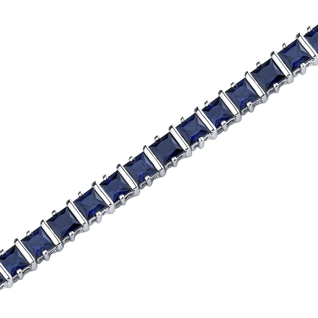 Peora Created Blue Sapphire Tennis Bracelet in Sterling Silver, 14 Carats total, Princess Cut, 4mm, 7.50 inches by Peora