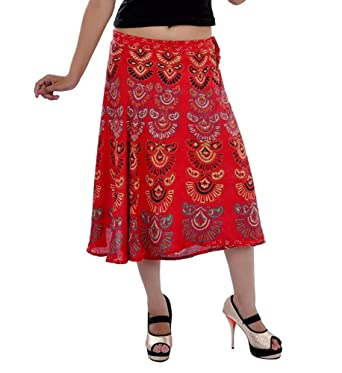 7f89724b8a9 Image Unavailable. Image not available for. Color  ETHNIC HIPPIE DECOR INDIAN  MANDALA RED SHORT SKIRT