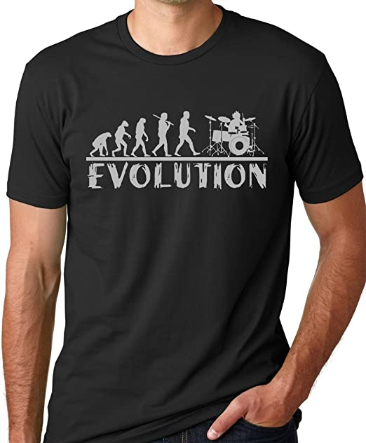 088e975a57 Think Out Loud Apparel Drummer Evolution Funny T-Shirt Drums Humor Tee  Black S