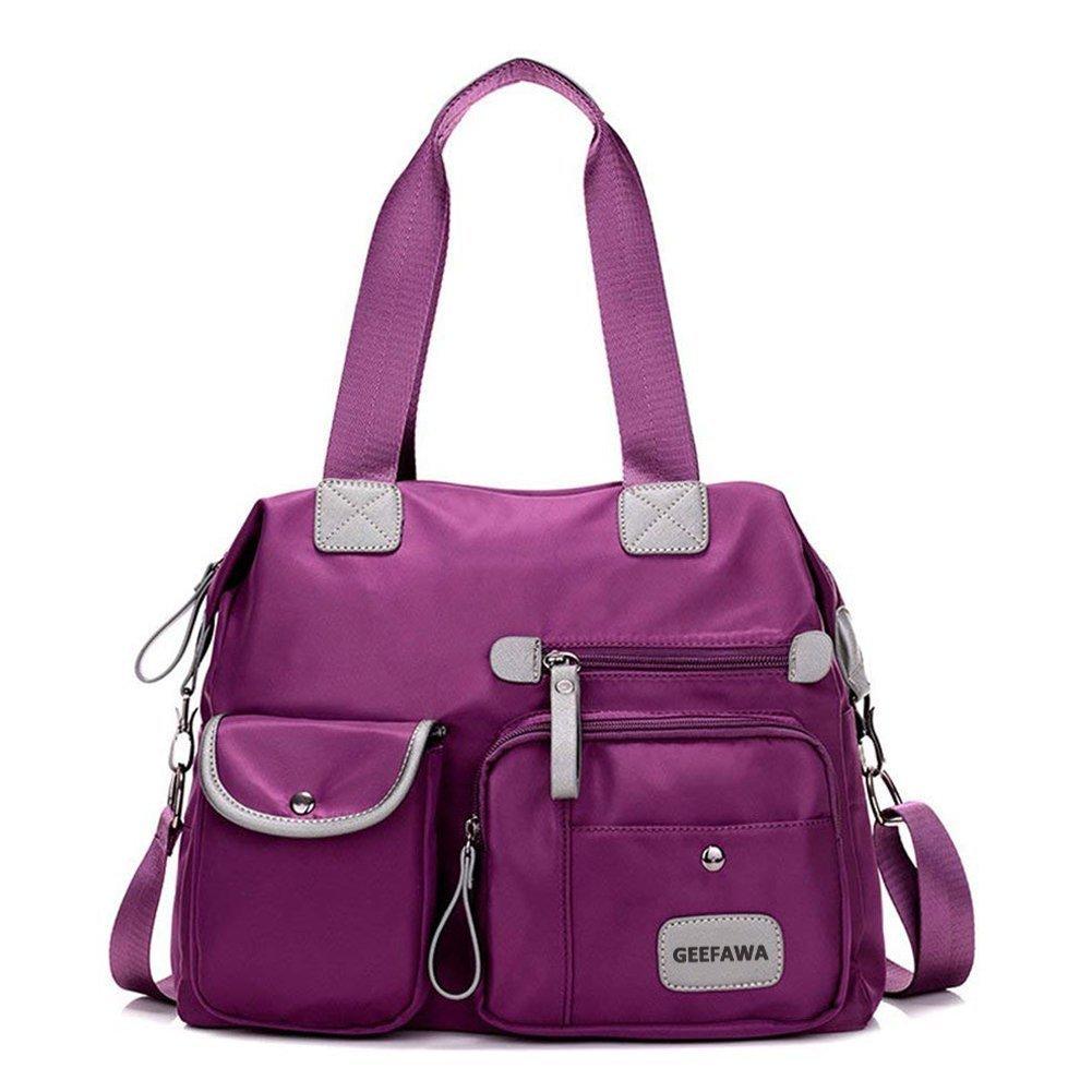 Women's Canvas Tote Bag Top Handle Bags Shoulder Handbag Tote Shopper Handbag crossbody bags (Nylon purple)