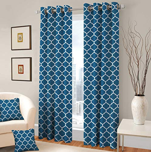 "TreeWool Decorative Grommet Curtain Panel Drape Trellis Accent for Living Room Bedroom Window Treatment (Set of 2 Panels, 48"" x 84"", Teal)"