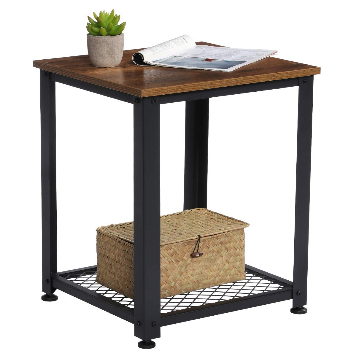 KingSo End Table, 2-Tier Industrial Sofa Side Table with Storage Shelf, Easy Assembly Square Nightstand Wood Look Accent Furniture with Metal Frame for Living Room, Bedroom, Rustic Brown