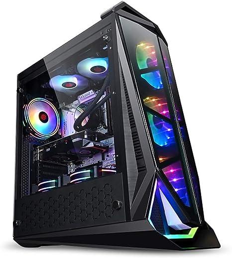 Wsnbb Gaming Pc Gehäuse Mid Tower Atx M Atx Pc Gaming Computer Gehäuse Gehärteter Glas Panel Unterstützt Wasserkühlung 8 Lüfter Einbauort Küche Haushalt
