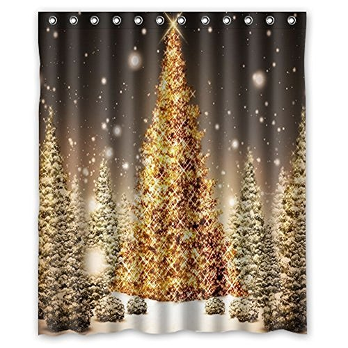 AnHome Print Golden Merry Christmas Tree In Big