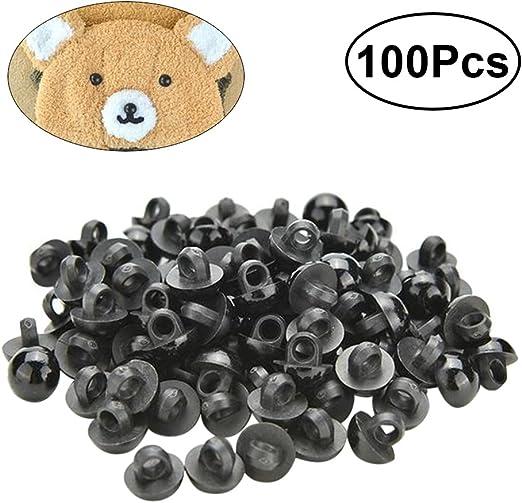 10mm 100x Boutons Champignon Bomb/é Yeux des Animaux Poup/ée Couture V/êtement Bricolage 10-26mm Noir