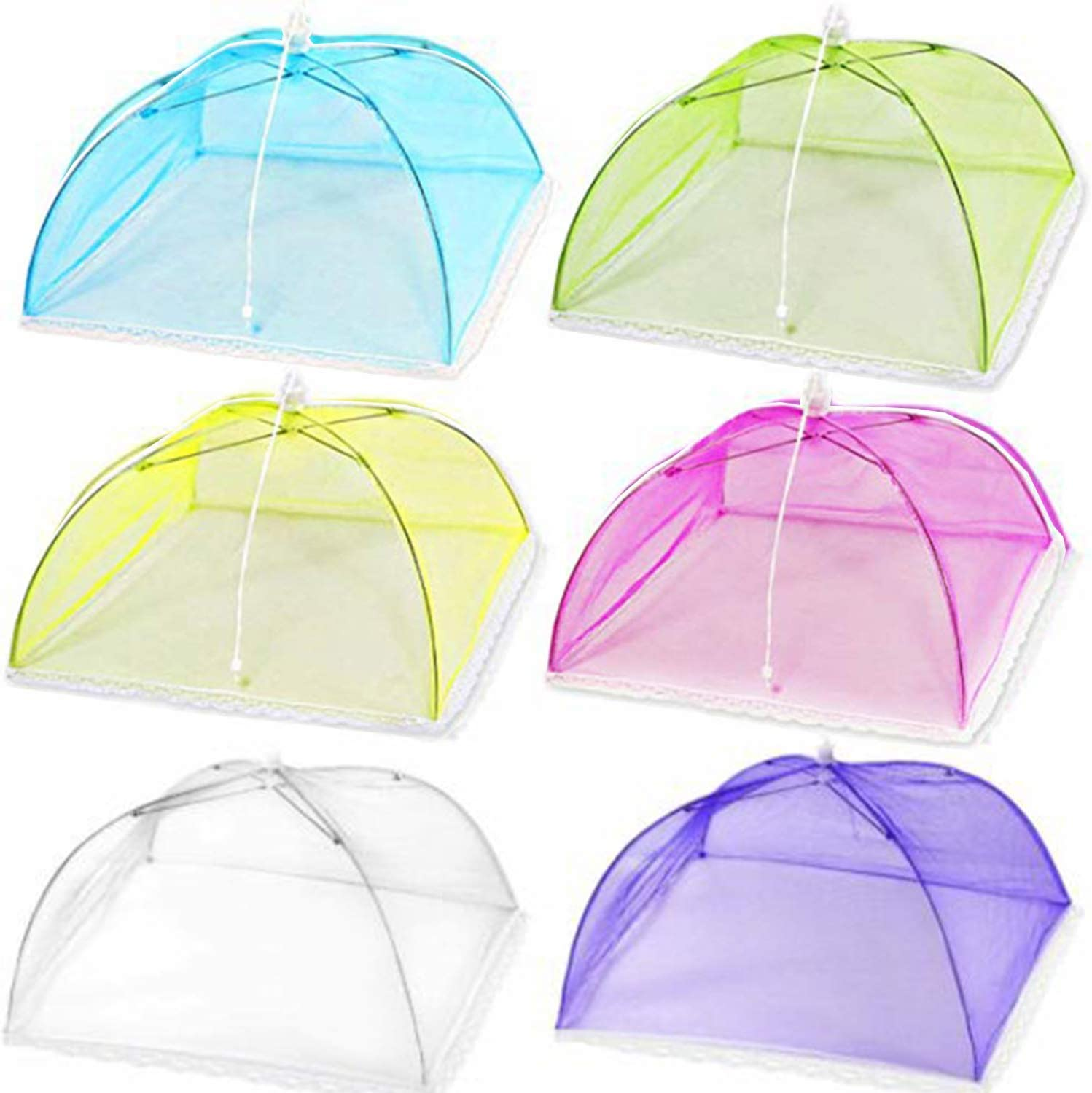 Mesh Food Cover 6 Pack 17x17 Pop-Up Mesh Food Covers Tent Umbrella for Outdoors, Screen Tents, Parties Picnics, BBQs, Camping, Reusable and Collapsible Food Cover Nets,Multicolor