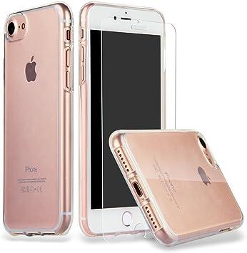 iphone 8 iphone 7 coque verre trempe, ILUXUS Coque flexible ultra-transparente en silicone crystal anti-rayures et anti-rayures, verre trempe sans ...