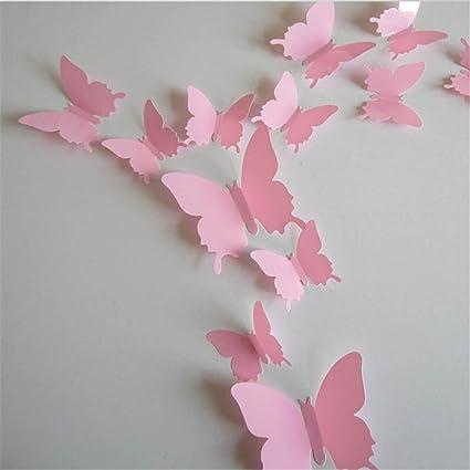Exiu 12pcs Stickers Muraux De Papillons 3d Diy Autocollants