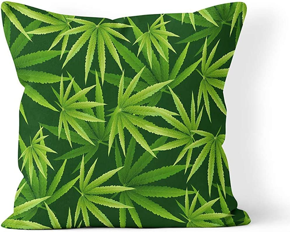 Ruthxiaoliang Funda de Almohada de Tiro Patrón de Hojas de Marihuana Planta de Cannabis Funda de cojín de vegetación densa Verde Funda de Almohada Impresa