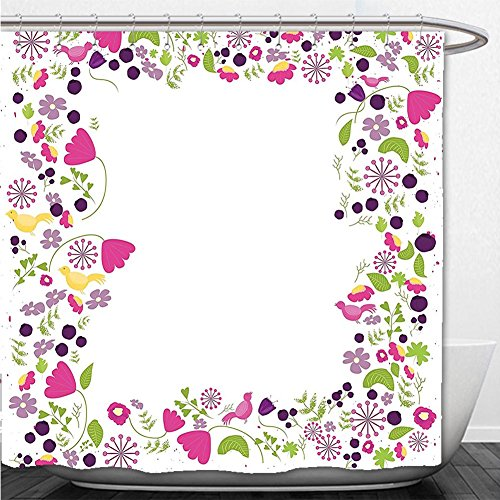 Beshowere Shower Curtain Lifestyle Decor Hello Spring Inspirational Phrase with Flourish Floral Wreath Image Pink Purple Green
