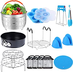 16 Pcs Pressure Cooker Accessories Set Compatible with Instant Pot 6 qt 8 Quart - Steamer Basket, Springform Pan, Stackable Egg Steamer Rack, Egg Bites Mold, Kitchen Tongs & More