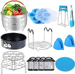 16 Pcs Pressure Cooker Accessories Set Compatible with Instant Pot 6 qt 8 Quart - Steamer Basket, Springform Pan, Stackable Egg Steamer Rack, Egg Bites Mold, Kitchen Tongs & More