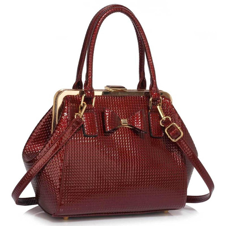 Satchel Handbags Ladies Designer Shoulder Handbags Patent Bow Framed Womens Faux Leather Celebrity Bag