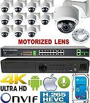 USG 4MP 12 Camera H.265 HD PoE IP CCTV Kit : 1x 24 Channel Ultra 4K NVR + 12x DOME Cameras + 1x PoE Switch + 1x 4TB HDD : 2.8-12mm Motorized Auto-Focus Lens : IR LED : FREE Phone App : 3 YEAR WARRANTY