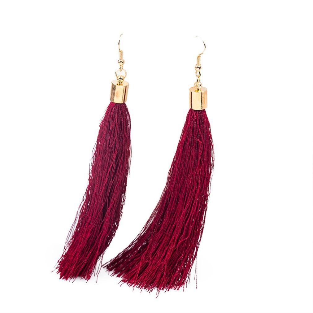 Minshao Bohemian Earrings Women Long Tassel Fringe Dangle Earrings (Black)