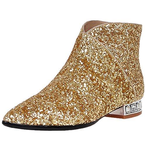 HooH Women Chelsea Boots Pointed Toe Sequins Bling Heel Zipper Ankle Boots Gold WvvJe5Pe