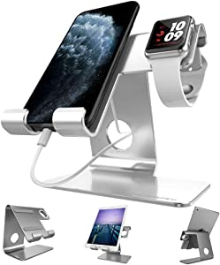 Apple Watch Stand, ZVEproof Universal 2 in 1 iPhone and Apple Watch Charger Holder Charging Station for iWatch,iphone6/7/8 X Plus,Nintendo Switch,Tablets(Up to 12.9 inch), Silver