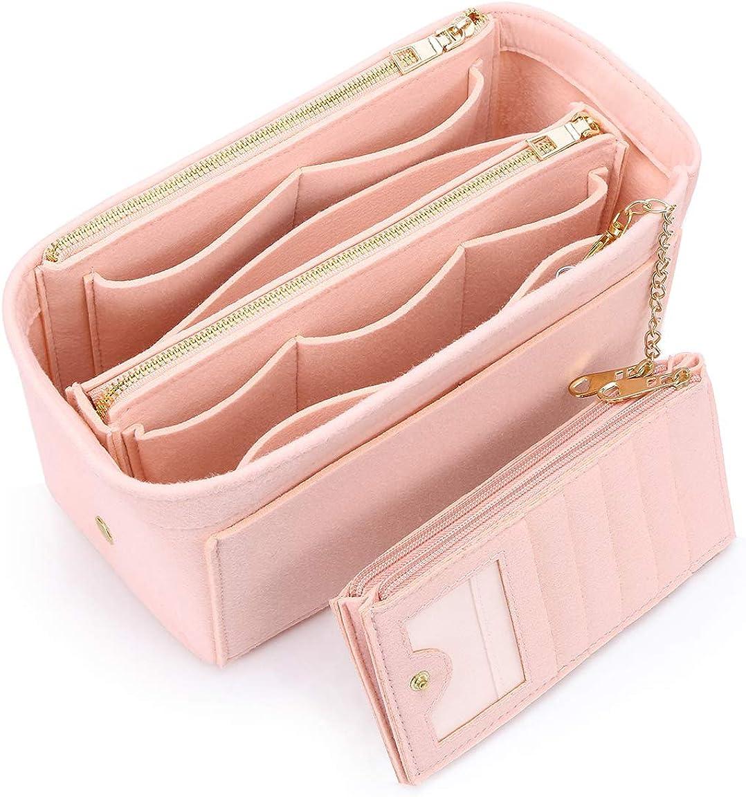 VANCORE バッグインバッグ 軽量 自立 Bag in Bag フェルト チャック付き 小さめ 大きめ バッグの中 整理 整頓 通勤 旅行 ピンク