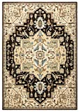 Rizzy Home Bennington Collection Loomed Double Pointed Designs Area Rug, 2'3'' x 7'7'', Black/Ivory/Brown
