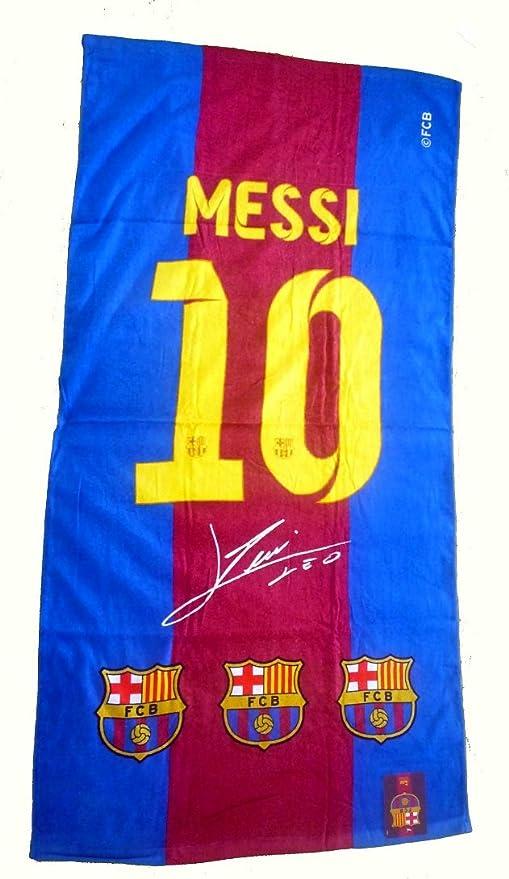 Barcelona F.C. – Toalla de impresión diseño Silueta y firma de Lionel Messi FC Barcelona –