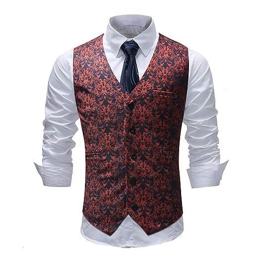 Chalecos de vestir para hombres Slim Fit Casual Impreso chaqueta ...