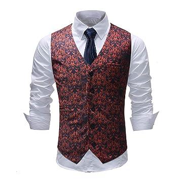 Chalecos de vestir para hombres Slim Fit Casual Impreso chaqueta sin mangas Abrigo para hombre Chalecos