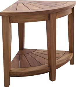 Nordic Style Oiled Teak Wood Corner Stool for Bathroom, Spa, Featuring Shower Bench with Storage for Indoor or Outdoor 18