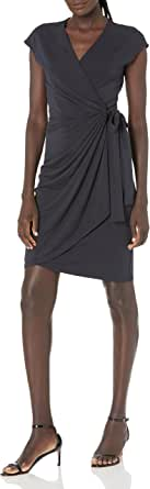 Marca Amazon - Lark & Ro Classic Cap-Sleeve Wrap Dress Mujer