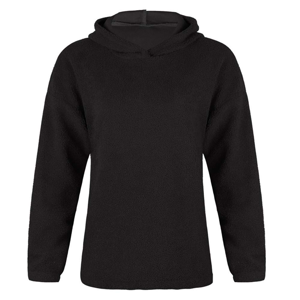 NRUTUP Women Casual Solid Active Hoodie O-Collar Full Sleeve Warm Jumper Outwears Top Blouse Coat