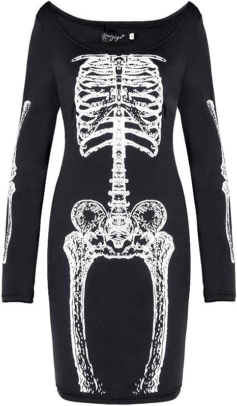 ZGCP Disfraces de Halloween Falda de mujer Skeleton Cat Print ...