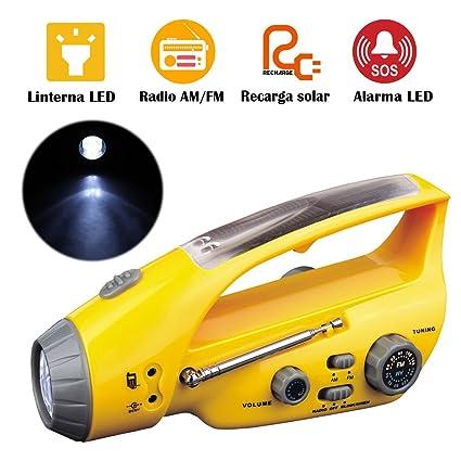 Linterna de Emergencia Recargable Solar Lámpara de Alarma ...