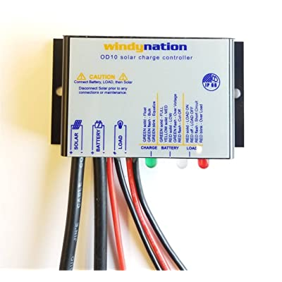 WindyNation Waterproof 10A 12V Solar Charge Controller w/LED Charging and Load Indicators : Garden & Outdoor