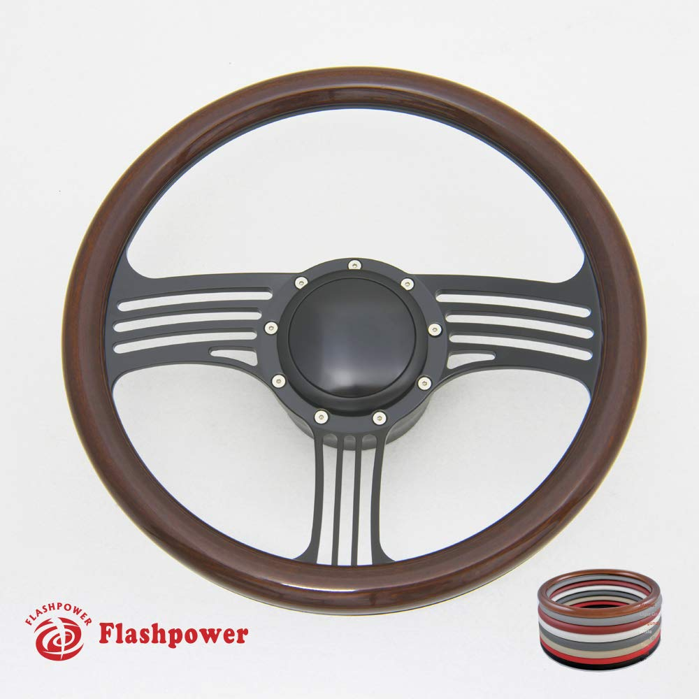 Flashpower 14 Billet Half Wrap 9 Bolts Steering Wheel with 2 Dish and Horn Button Walnut Wood